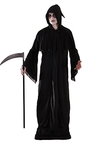 Fancy Me Herren Sensenmann Scream Geist Halloween Horror Kostüm Kleid Outfit mit Maske STD & XL - Schwarz - Schwarz, Schwarz, STD (Scream Robe Kostüm)