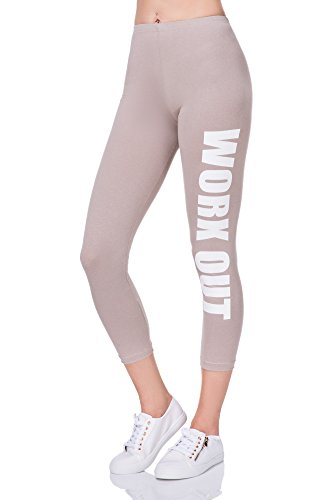 FUTURO FASHION Damen Leggings Beige