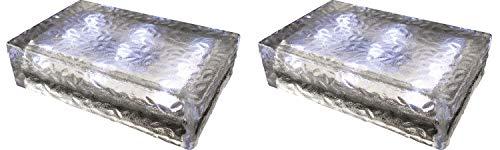2 pezzi FUCHS Mattonella Solare LED Vetro bianco freddo 23x15x6 cm - per l\'illuminazione del percorso (antiscivolo)