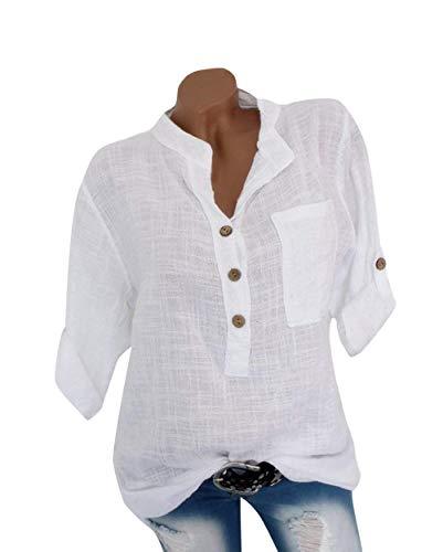 OranDesigne Damen Leinen Langarmshirt Freizeit Bluse V-Ausschnitt Button-Down Locker Hemd Shirt Weiß 44