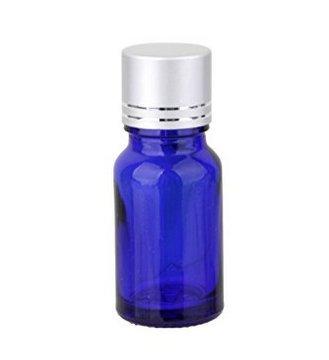 Bleu 10 ml en verre vide bouteilles avec bouchons Argent pour parfum Lotion Sérum aromathérapie Huile essentielle – Lot de 5