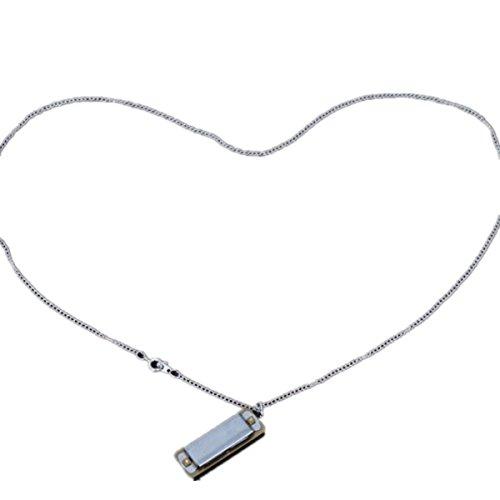 New Cute Swan Mini Harmonica 4Loch 8Tone Halskette Silber mit Box