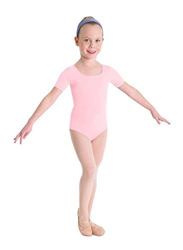 Kinder Ballett Body mit kurzem Arm und rundem Halsausschnitt Rosa