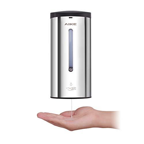AIKE -AK1205 Dispensador de jabón automático de Pared de Acero Inoxidable con Sensor para baño y Cocina, Pulido 700 ML, líquido Ajustable