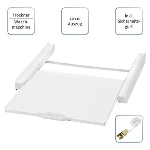 Xavax Zwischenbausatz universal (Verbindungsrahmen für Waschmaschinen und Trockner, Zwischenbaurahmen mit Auszug als Ablage für Wäschekorb,inkl. Zurrgurt) weiß