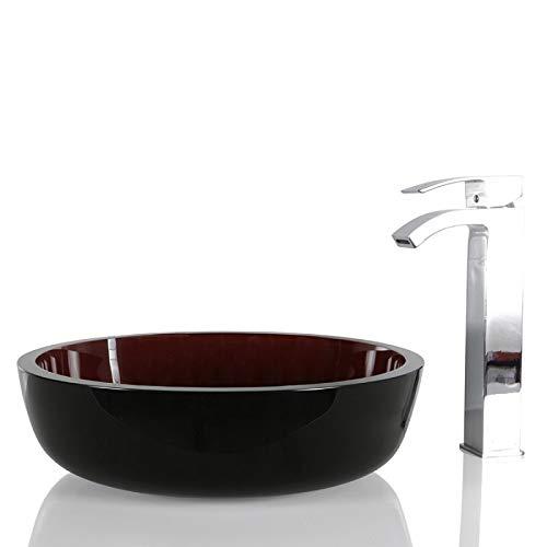 Schwarz-Rot Glas Rund Waschbecken - Design Waschbecken Aufsatzwaschbecken 42x42x12 cm mit kostenloser Ablaufgarnitur