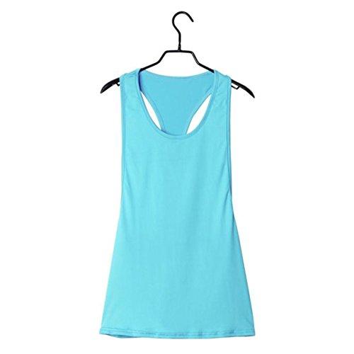 Femmes Sport Vest, Reaso Summer Sexy lâche Gym Run Training Bleu Clair