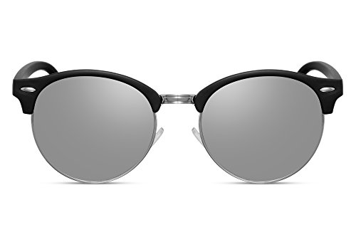 Lunettes de soleil Cheapass Clubmaster Verres noirs ronds argentées effet miroir UV400 Hommes Femmes
