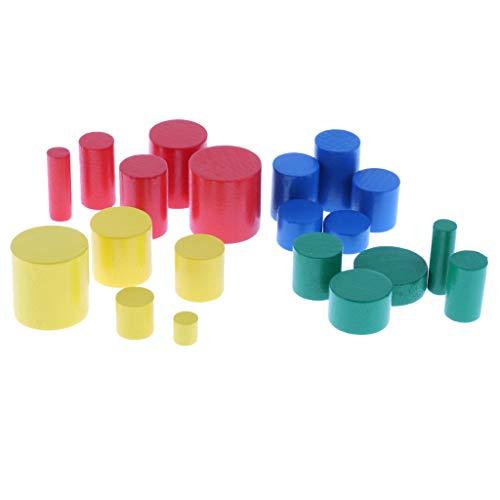 Conjunto de Mini Knobbless Materiales Montessori de Madera Cilindros Familia