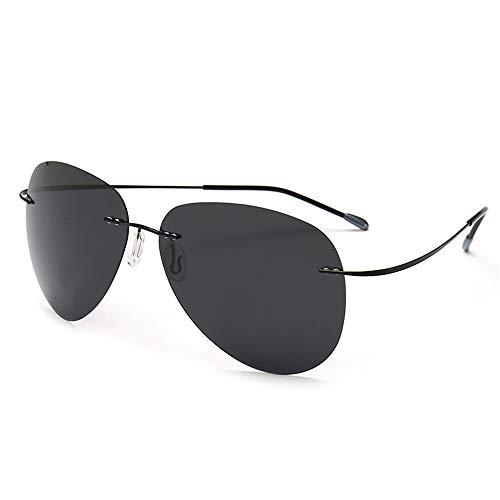 JUZEN Herren Polarisierte Sonnenbrille Frameless Titanium Frame Aviator Sonnenbrille Retro Driver's Driving Mirror Außenreitbrille, ()