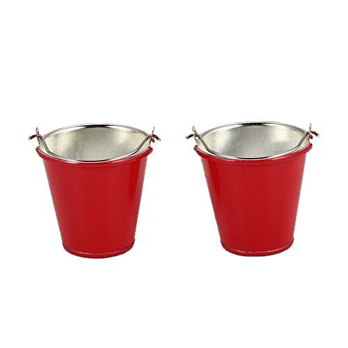 Preisvergleich Produktbild 2 STÜCKE Wassereimer Modelle für SCX10 TRX4 RC Offroad RC Crawler Auto Axial Hohe Simulation Rot Metall Tragbare Mini Eimer