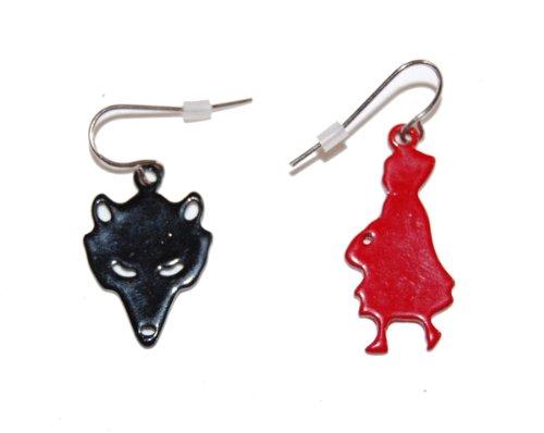 Esmalte de Caperucita Roja y lobo sombras gota gancho pendientes (con bolsa de regalo)