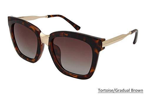 LKVNHP Sorbern Summer Women Square Übergroße Sonnenbrille Polarisierte Mode Sonnenbrille Big Frame Shades Gradient Weibliche Oculos UV400Tortoise Brown
