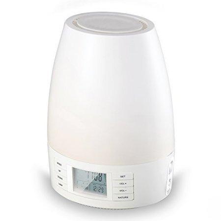 Hangsun Réveil Lumineux Simulateur Eveil Lumière avec Lampe LED Wake Up Light avec 7 sons naturels Bluetooth Radio FM