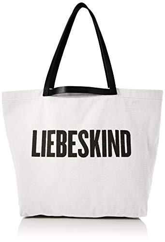 Liebeskind Berlin Damen Canvas Shopper Medium Schultertasche, Weiß (Jet Stream), 17x35x34 cm -