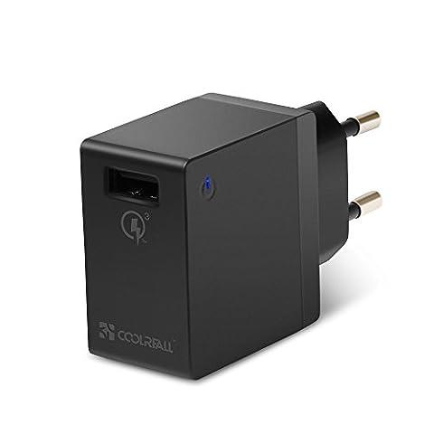 Chargeur rapide avec QC 3.0(18–19,5W) coolreall® USB Chargeur Mural avec système de protection pour iPhone, iPad, iPod, Smartphone, Tablette, uzw. (Noir)