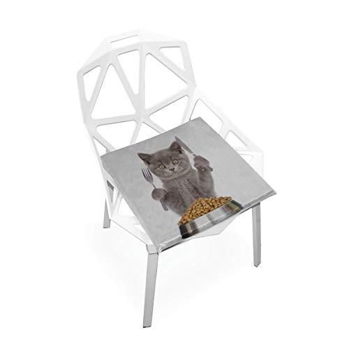 Enhusk Katze Essen In Schüssel Benutzerdefinierte Weiche rutschfeste Platz Memory Foam Stuhlkissen Kissen Sitz Für Home Küche Esszimmer Büro Schreibtisch Möbel Innen 16x16 Zoll -