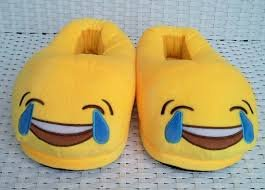Emerge Tears of Joy Emoji Soft & Plush Slip On Shoes/ Slippers