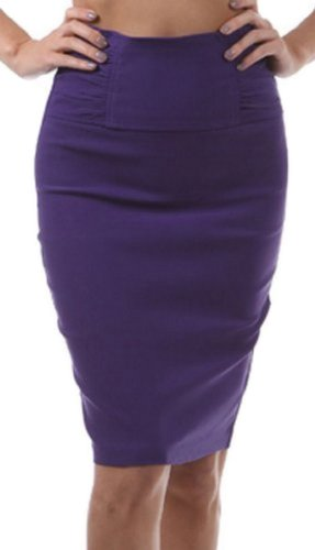 Jupe droite serrée haute à la taille Taille Effet retroussé ( Au choix from 6 Couleurs ) Violet