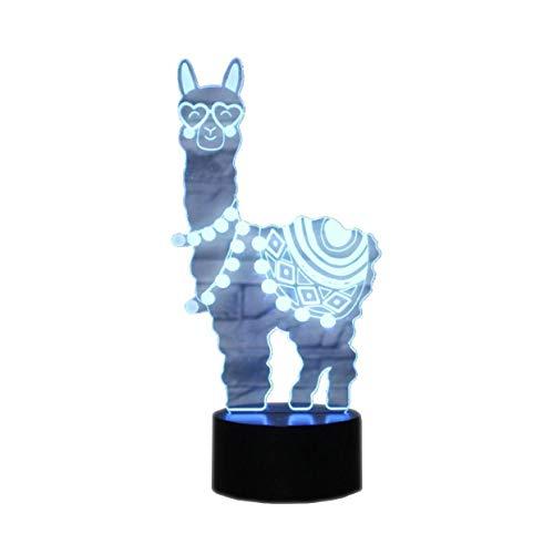 YKMY novità Alpaca Llama 3D Illusion Lampade LED Night Lights USB 7 Colori Sensore Lampada da Tavolo per la Collezione di amatori di Sport all'Aria Aperta