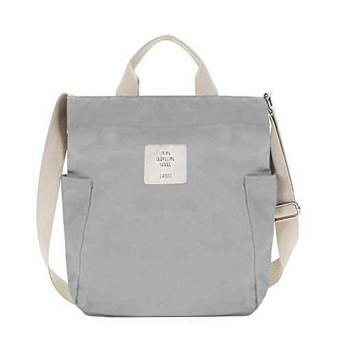 Gindoly Casual Handtasche Damen Canvas Chic Schultertasche Damen Henkeltasche Schulrucksack Große umhängetasche Tasche grau EINWEG