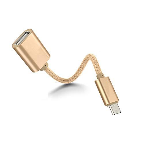Runfon Aluminium Legierung OTG USB-Kabel 3C, DIGITAL Box programmiert Nylon FireWire Adapter Kabel Golden