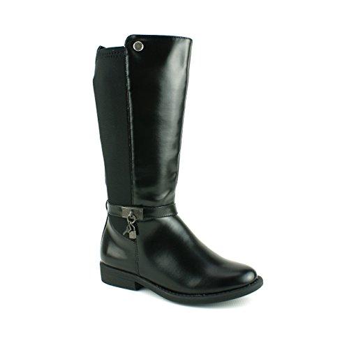 Shuzee Kids Girls Infants Riding Knee High Stretch Elastic Zip UP Black Boots Shoes Size (UK 1 - EU 33, Black)