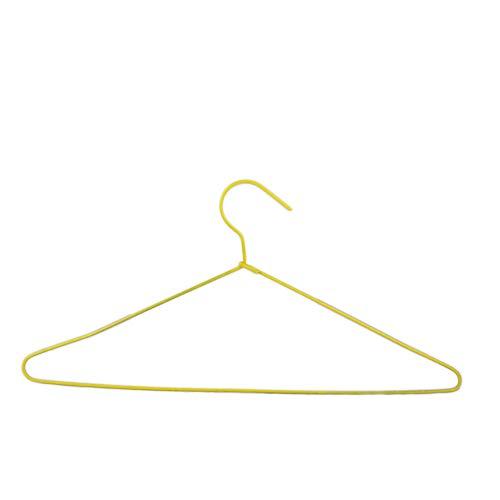 100 Perchas Acero Forradas de plástico Antideslizante de Color Amarillo Tintorerias Lavanderias