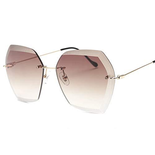 QIFUDEVS-SUNGLASSES Home Sechseckige Sonnenbrille ohne Rand, Farbverlauf transparente Sonnenbrille (Color : B)