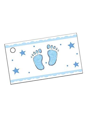 Generique - 10 étiquettes Papier Pied Bleu Baptême Garçon