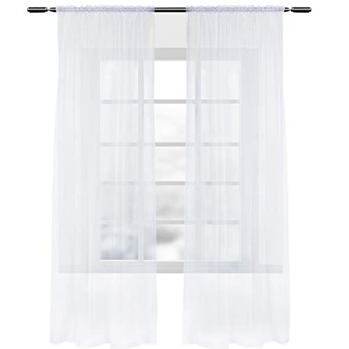 WOLTU VH5515ws-2, 2er Set Gardinen Vorhänge transparent mit Kräuselband Stores für Schiene, Doppelpack Fensterschal Voile für Wohnzimmer Schlafzimmer Kinderzimmer Landhaus, 140x225 cm Weiß