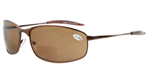 Eyekepper Metallrahmen Fischen Golf Radfahren Fliegen im Freien Bifocal Sonnenbrillen Braun +2.5