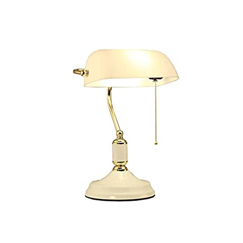 Tony's home- Simple Design Executive Desker's Desk Lamp avec verre Shade Antique Brass LED Lampe de bureau ( Couleur : Glass Lampshade )