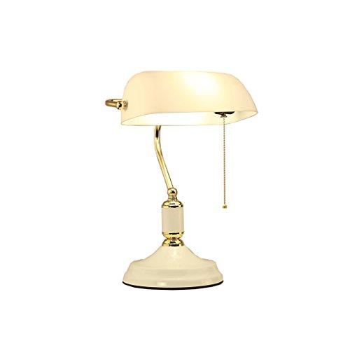 Briskaari Shop- Die Republik China Studie Schreibtischlampe Bank Lampe Die Europäische Stilstudie Vintage Schreibtischlampe Chinesische Schlafzimmer Nachttischlampe Tisch- & Nachttischlampen ( Farbe : Glass Lampshade ) (Art Glass Vintage Tisch Lampe)