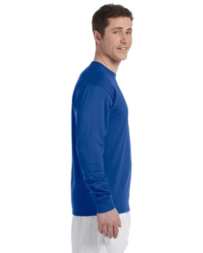 Champion Adult Long Sleeve Taped Crewneck Fitted T-Shirt Royal Blue
