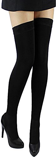 Overknees Baumwolle blickdichte sehr warme Winter Damen Thermo Overknee lange glatte Strümpfe Socken mit Futter Gothic (schwarz)