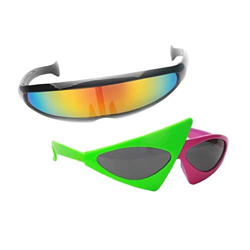 sharprepublic 2 STK Sonnenbrille Spaßbrille Futuristische Brille Alien Partybrille Rollenspiel Cosplay Kostüm