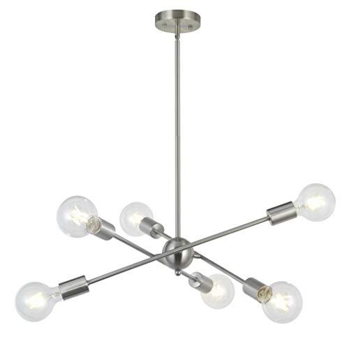 Kronleuchter, 6-Lichter Sputnik Kronleuchter Nickel gebürstet Vintage Anhänger Beleuchtung Mitte des Jahrhunderts moderne Küche Esszimmer Wohnzimmer Schlafzimmer Deckenleuchte -