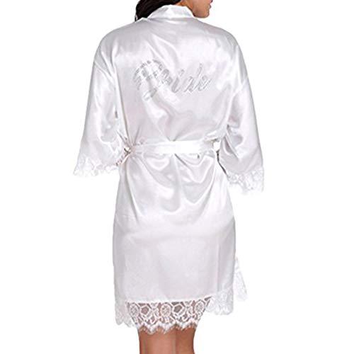 BOYANN Robes de Mariée Dentelle Cristal Kimono Peignoir Satin Robe de Chambre Femme Vêtements de Nuit
