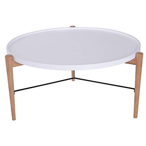 HOMCOM Couchtisch Wohnzimmertisch Beistelltisch Kaffeetisch Teetisch Nachttisch rund Holz Natur + Weiß Ø90 x H45 cm