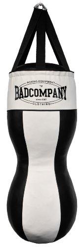 Bad Company Profi Vinyl Jab & Hook Boxsack schwarz/weiß gefüllt im 8 Elementen Design inkl. Nylon-Aufhängung