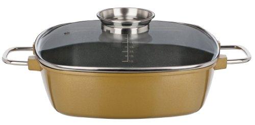 GSW Gourmet Premium 507011 - Casseruola a bordi alti, 28 x 28 x 8.5 cm, capacità 5 l, colore: Oro