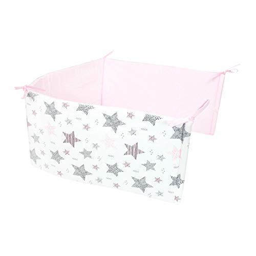 TupTam Protector para Cama de Bebé, Estrellas Rosa/Negro, 210x30cm Cuna 140x70