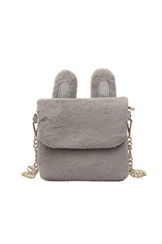 Howoo donne inverno piccolo pelliccia ecologica borsa a tracolla cinturino a catena peluche borsetta grigio chiaro