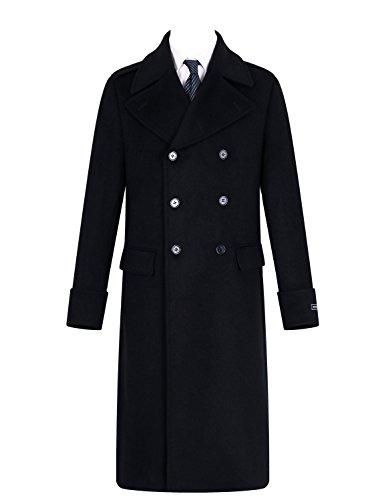 Herren schwarz Mantel Wolle & Kaschmir Toller Mantel lang zweireihig schwer warm Winte (48) -