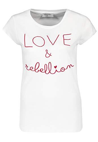 Sublevel Damen Rundhals T-Shirt mit gesticktem Schriftzug White XS