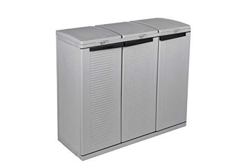Hier passt viel rein! XXL 3-Türen Gartenschrank mit drei Halterungen für Müllsäcke und Recycling. Frontseitig und von Oben zu öffnen. In neutralem Grau. - 3