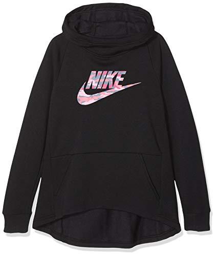 Nike camo - felpa con cappuccio da ragazza, bambina, ar4074-010, nero, s