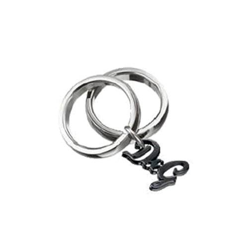Dolce & Gabbana JEWELS D&G LOVE 2RINGS WITH D&G LOGO PENDANT #16 ANTHRACITE DJ0558 female