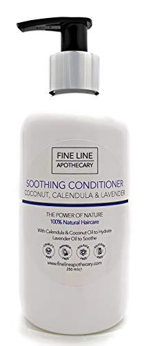100% Natural ACONDICIONADOR SUAVIZANTE - COCO, CALENDULA Y LAVANDA - 250 ml - por Fine Line Apothecary - Sin Sulfatos, sin parabenos, sin productos petroquímicos. Suave, concentrado